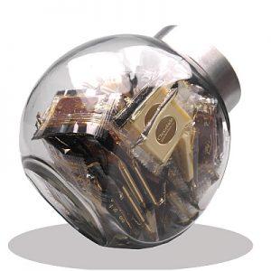 Glazen Pot Met Logochocolade Groot
